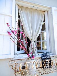 アンティーク窓施工事例|アンティーク窓に縁どられた景色を楽しむカフェ